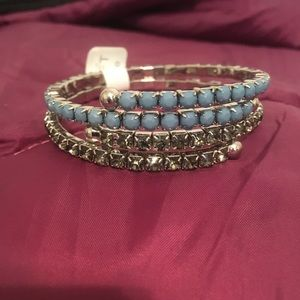 NWT - Loft rhinestone stretch bracelet set - blue